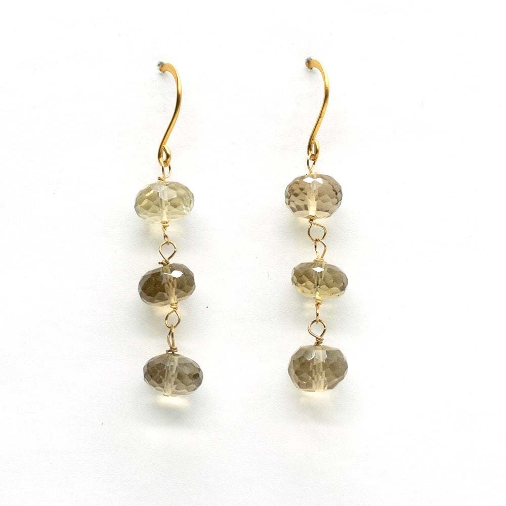 Load image into Gallery viewer, Whiskey Quartz 3 Stone Earrings