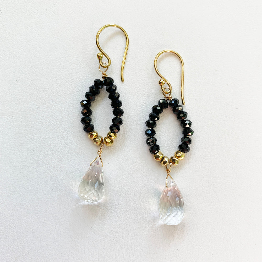 Spinel Gold Droplet Earrings