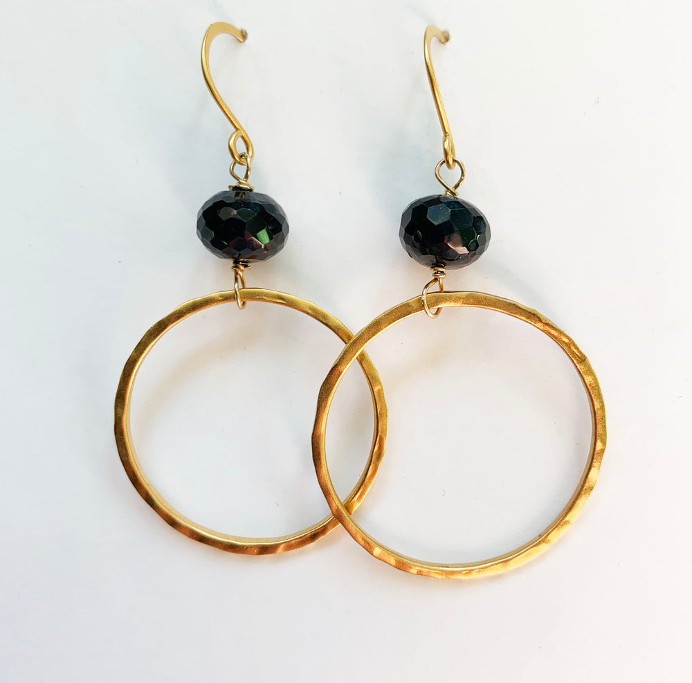 Spinel Gold Hoop Earrings