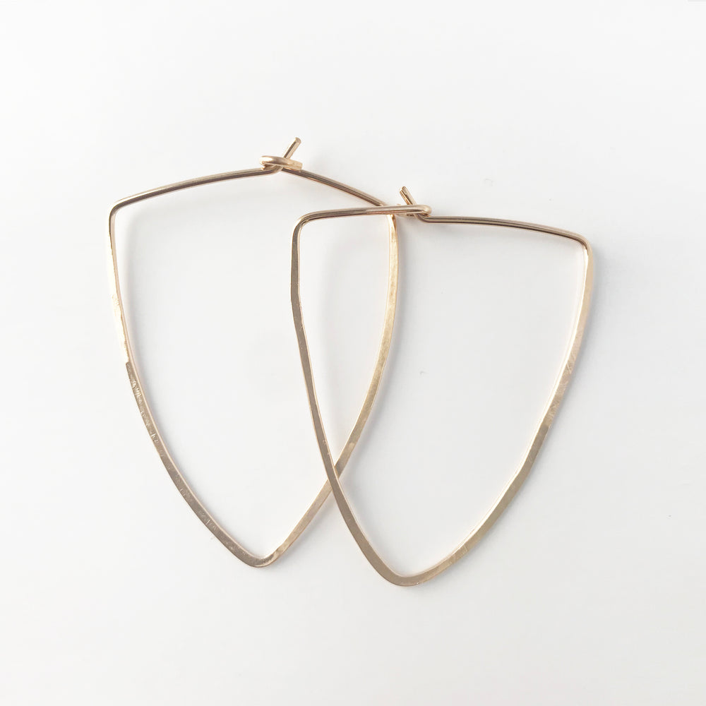 Hoops Triangle Hand Hammered Earrings