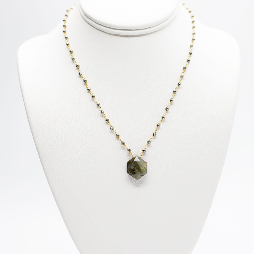 Waterfall Hexagon Labradorite Necklace