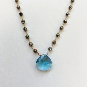 Large Waterfall Blue Quartz Gold-filled Necklace
