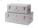 Pretty grey and rose gold set of two French vintage style trunks