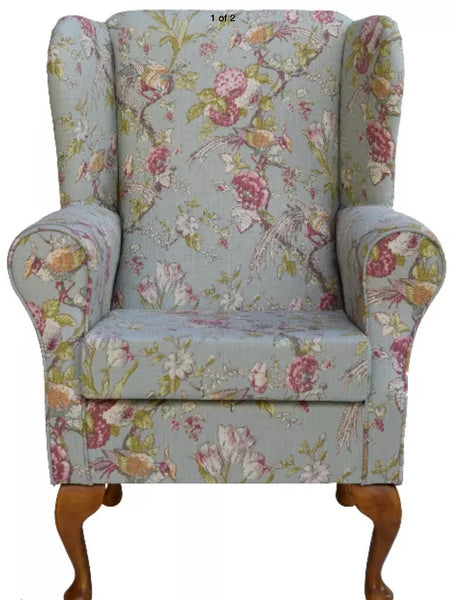 Chair duck egg handmade French style wing backed fireside chair
