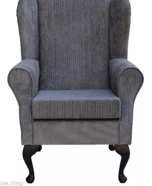 Gorgeous French style slate grey fireside chair with French style legs