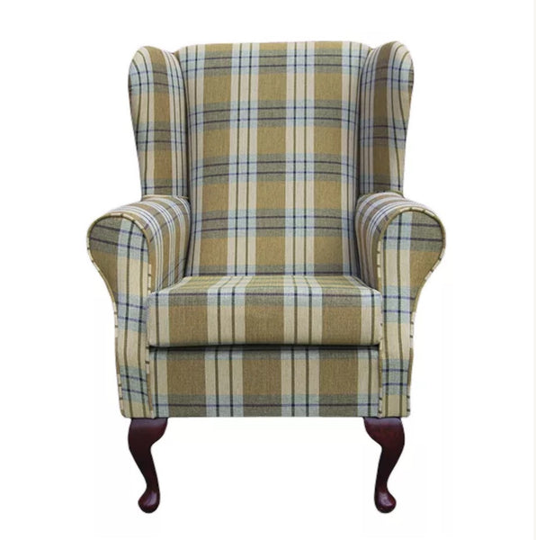 Handmade fireside chair in Pistachio Heather