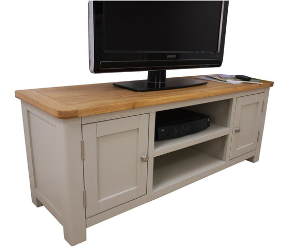Heritage range French grey oak large TV stand
