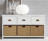 Seagrass and white storage unit/cupboard/console/hall cupboard