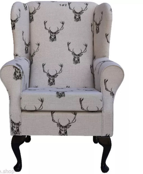 Designer 'Stag print' hand-made fireside chair