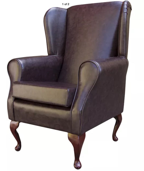 Chestnut tradional hand-made fireside chair with French style legs