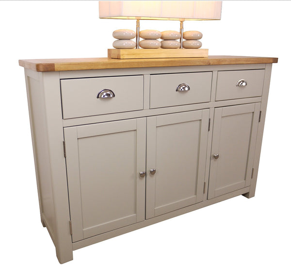 Heritage range solid oak French grey painted sideboard/buffet cabinet