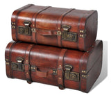 Wooden vintage style storage trunks - set of TWO