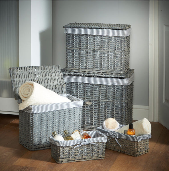 Hand made wicker storage set of five in French grey