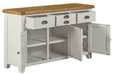 Buffet cabinet in solid oak painted in Farrow and Ball Dovetail Grey