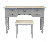 Desk/dresser/console and vintage stool set in soft grey