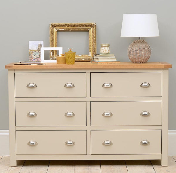 Painted oak stone grey six drawer chest