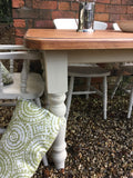 farmhouse vintage rustic hand chalked country cream 5ft table