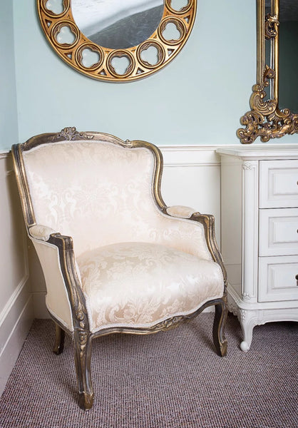 Antique cream Hand-made Boudoir French style chair