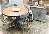 Cottage french style Paris grey pedestal 4-6 table, buffet server  & set of 4 chairs