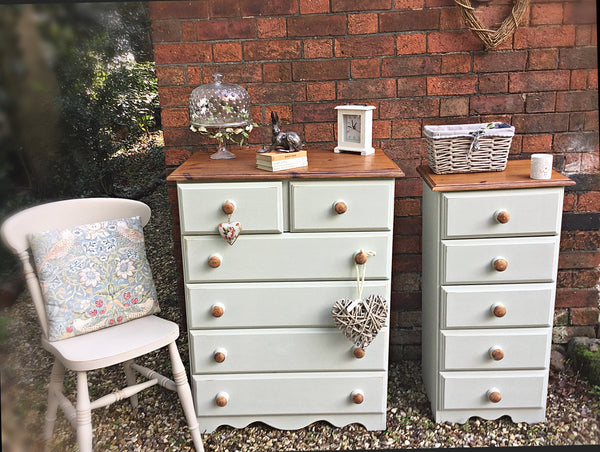 chest of drawers and vintage tallboy set of 2 cotton sage