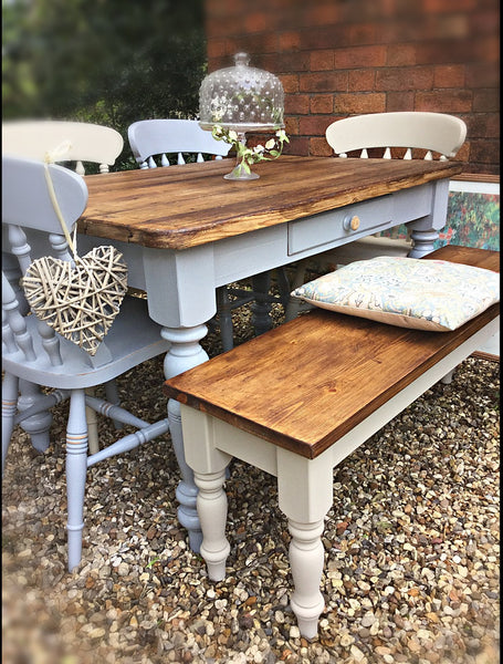 6 seater  planked reclaimed table, bench and 4 chair set