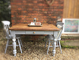 6 seater planked top vintage table with cutlery drawer Paris grey