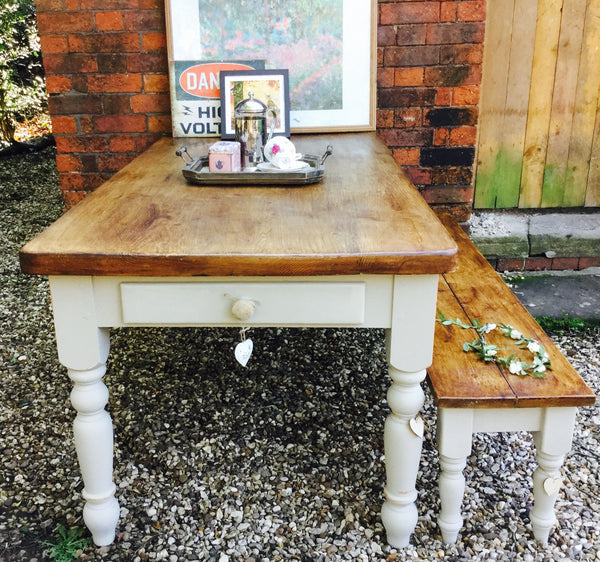 6 seater table, rustic bench and dresser top set