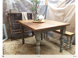 Gorgeous vintage pine French linen grey 4 seater rustic dining table and bench