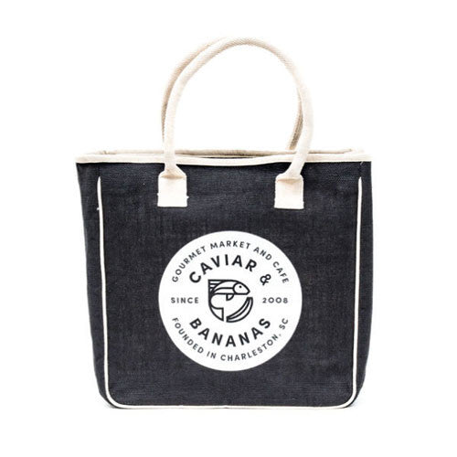 Black Jute Caviar & Bananas Tote Bag
