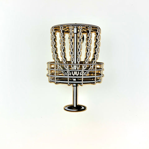 Disc Golf Basket (Gold) Pin