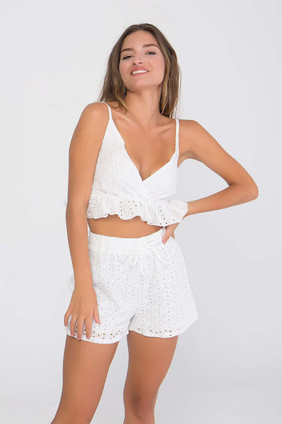 Set Top cropped & Shorts με κοφτό κέντημα