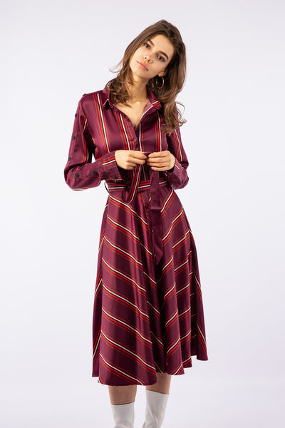 Shirt dress satin midi