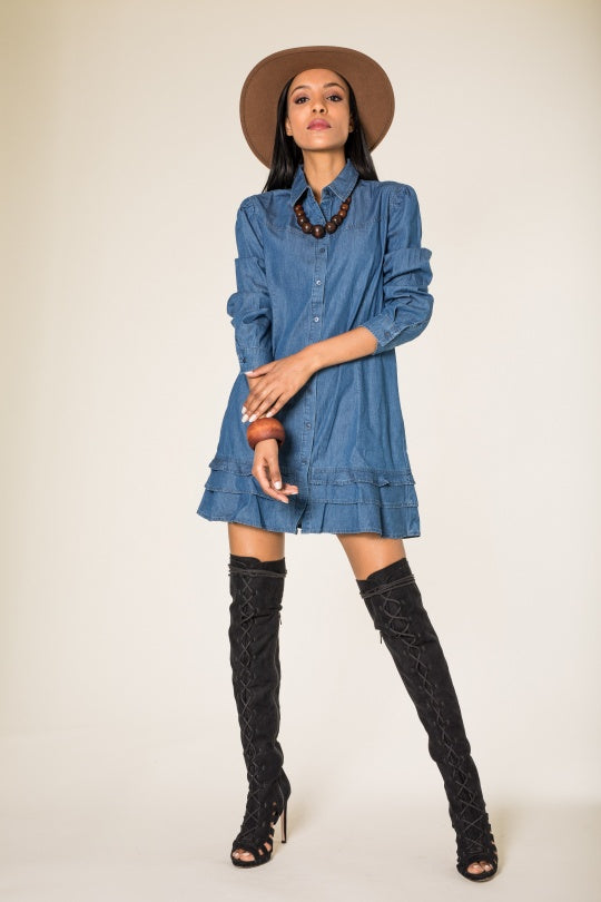 Shirt dress mini denim