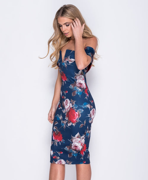 Φόρεμα bodycon floral strapless