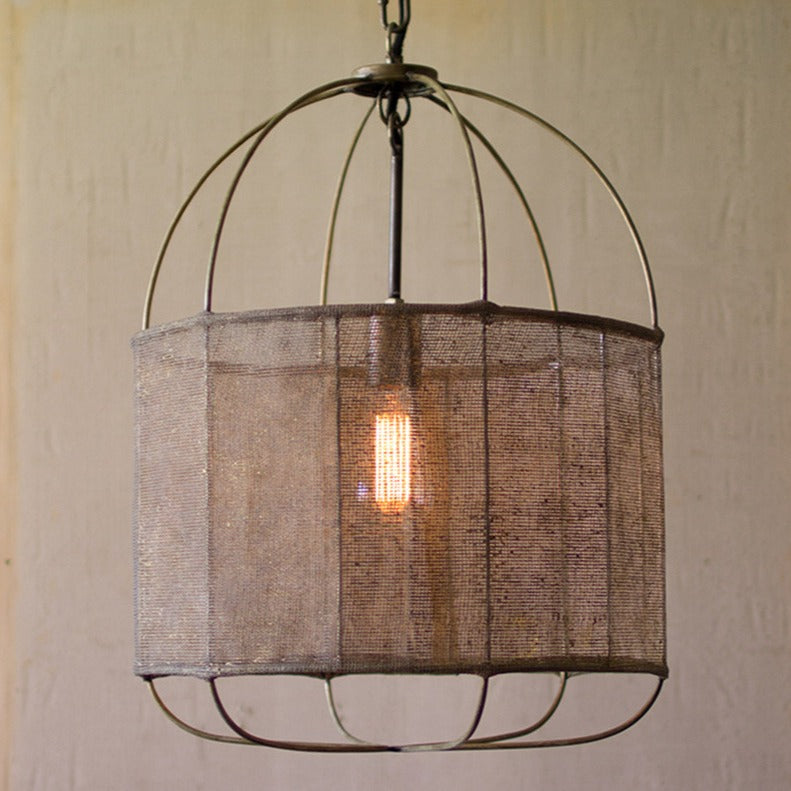 Drum Pendant Light with Fabric Shade