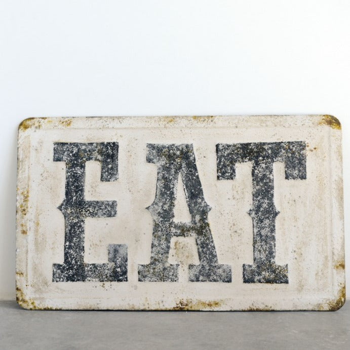 "Embossed Metal ""Eat"" Sign"