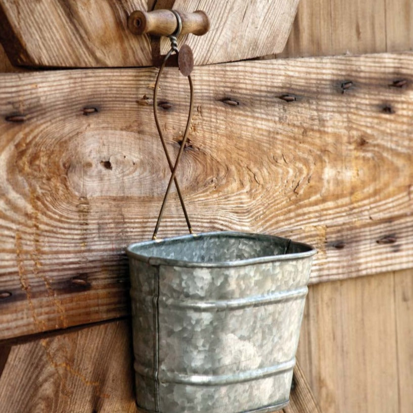 Galvanized Hanging Bucket Planter
