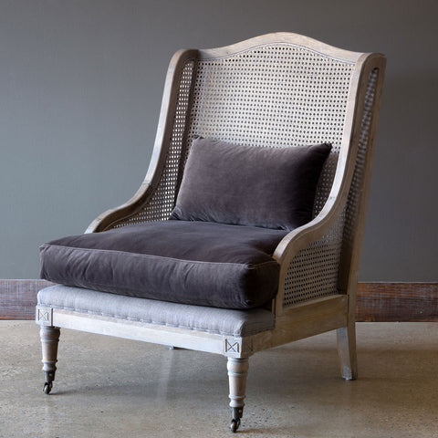 Cane Back Wing Chair With Velvet Cushion