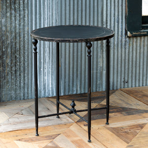 Antique Black Metal Side Table