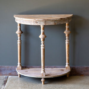 White-Washed Demi Lune Table