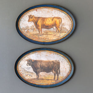 Aged Brown Cows Decorative Hanging Trays, 2 Assorted Styles