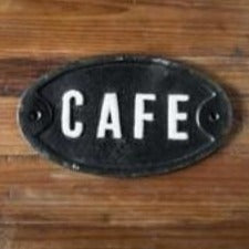 "Cast Iron ""Cafe"" Plaque"
