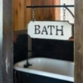 Bath Sign with Hanging Display