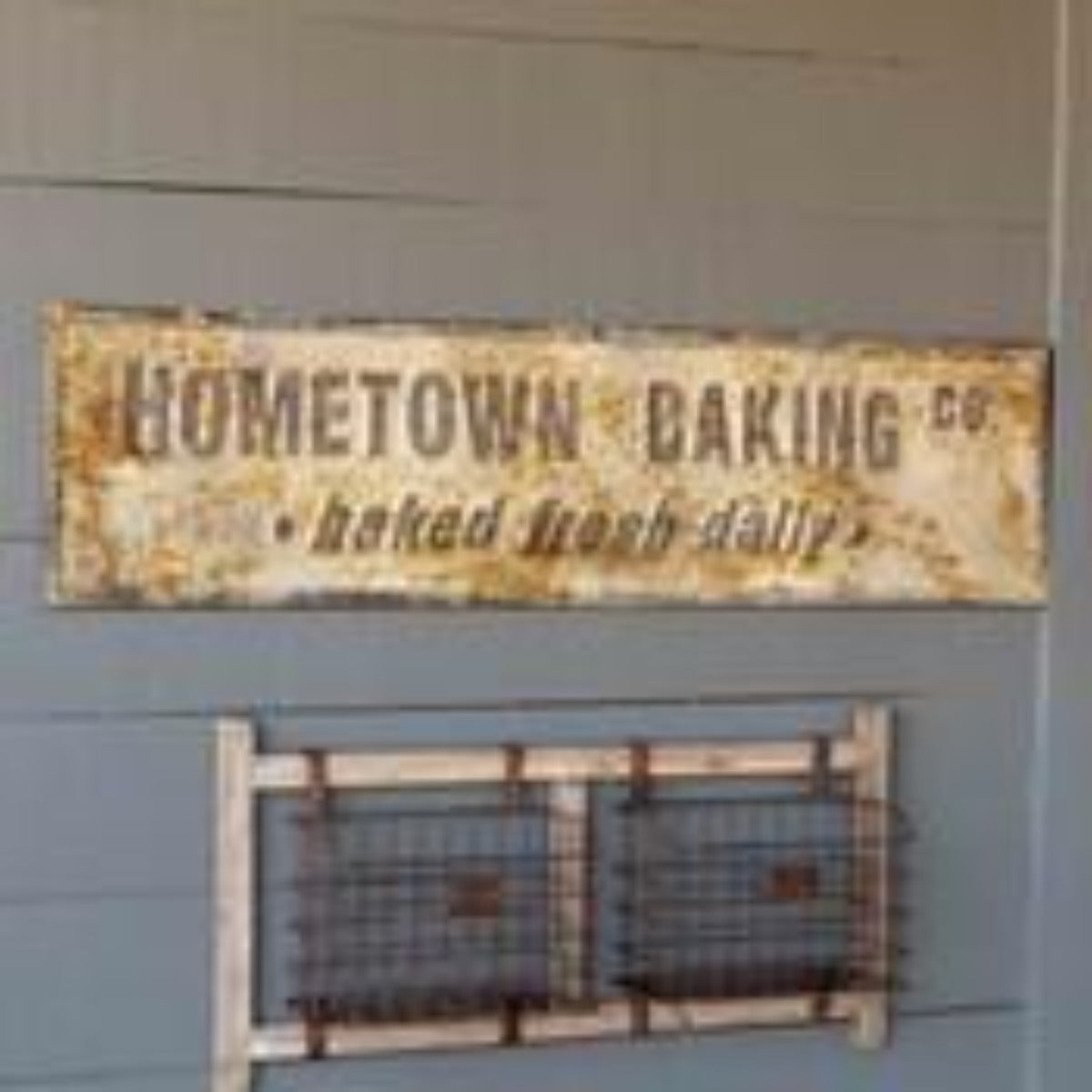 Aged Metal Hometown Baking Co. Sign