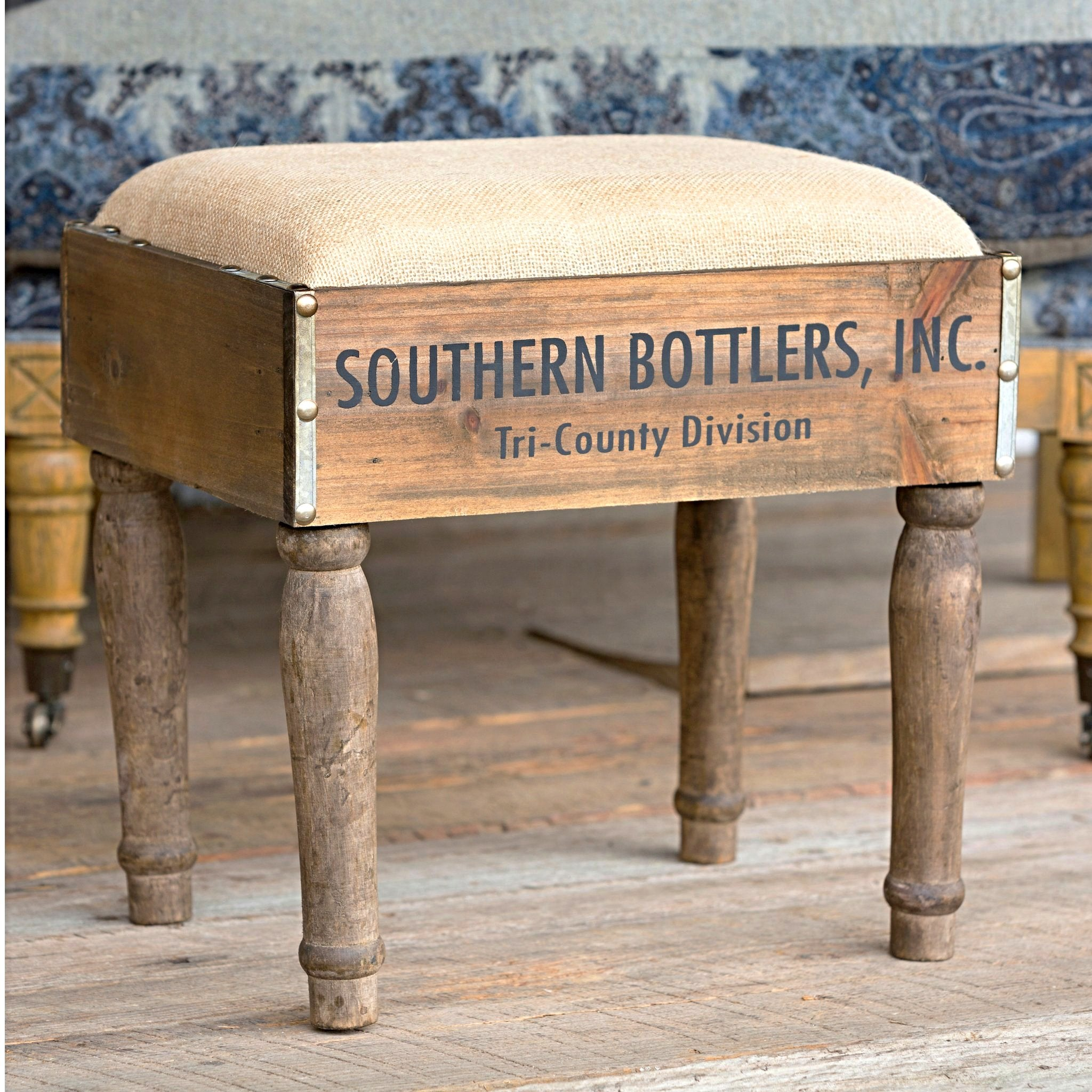 Bottle crate footstool with wood and burlap fabric