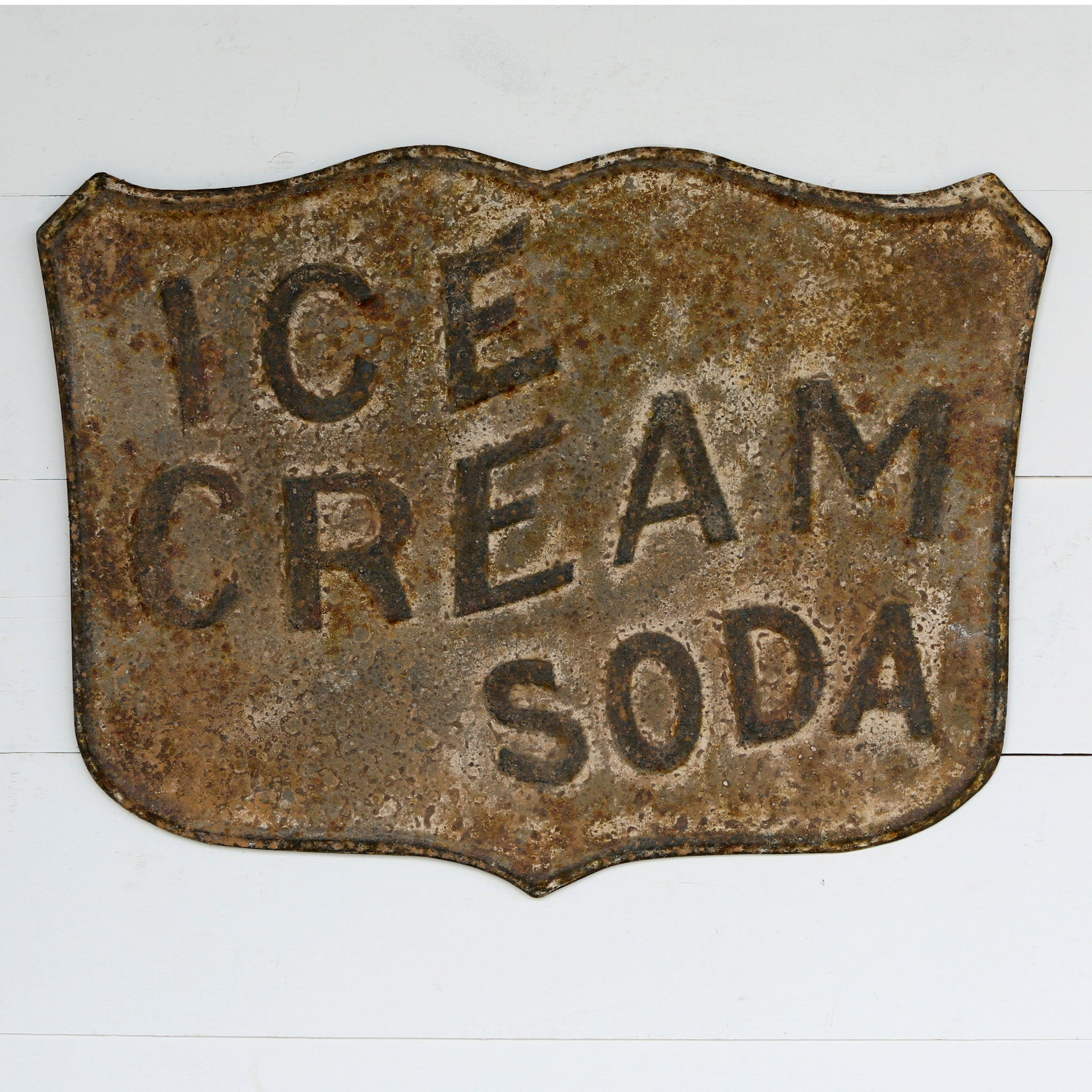 Embossed Metal Ice Cream Soda Sign