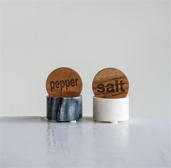 Round Marble Salt & Pepper Pot w/ Wood Lid