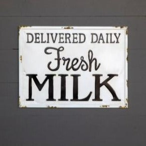 Milk Delivery Metal Sign