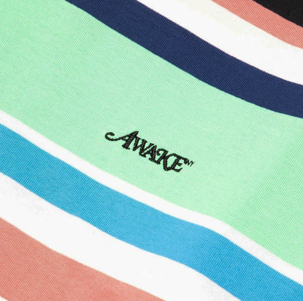Embroidered Logo L/S Striped Tee