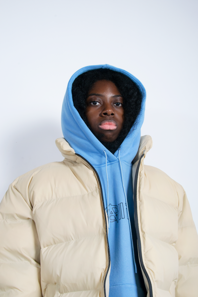 Puffy Winter Jacket Beige / Reflective